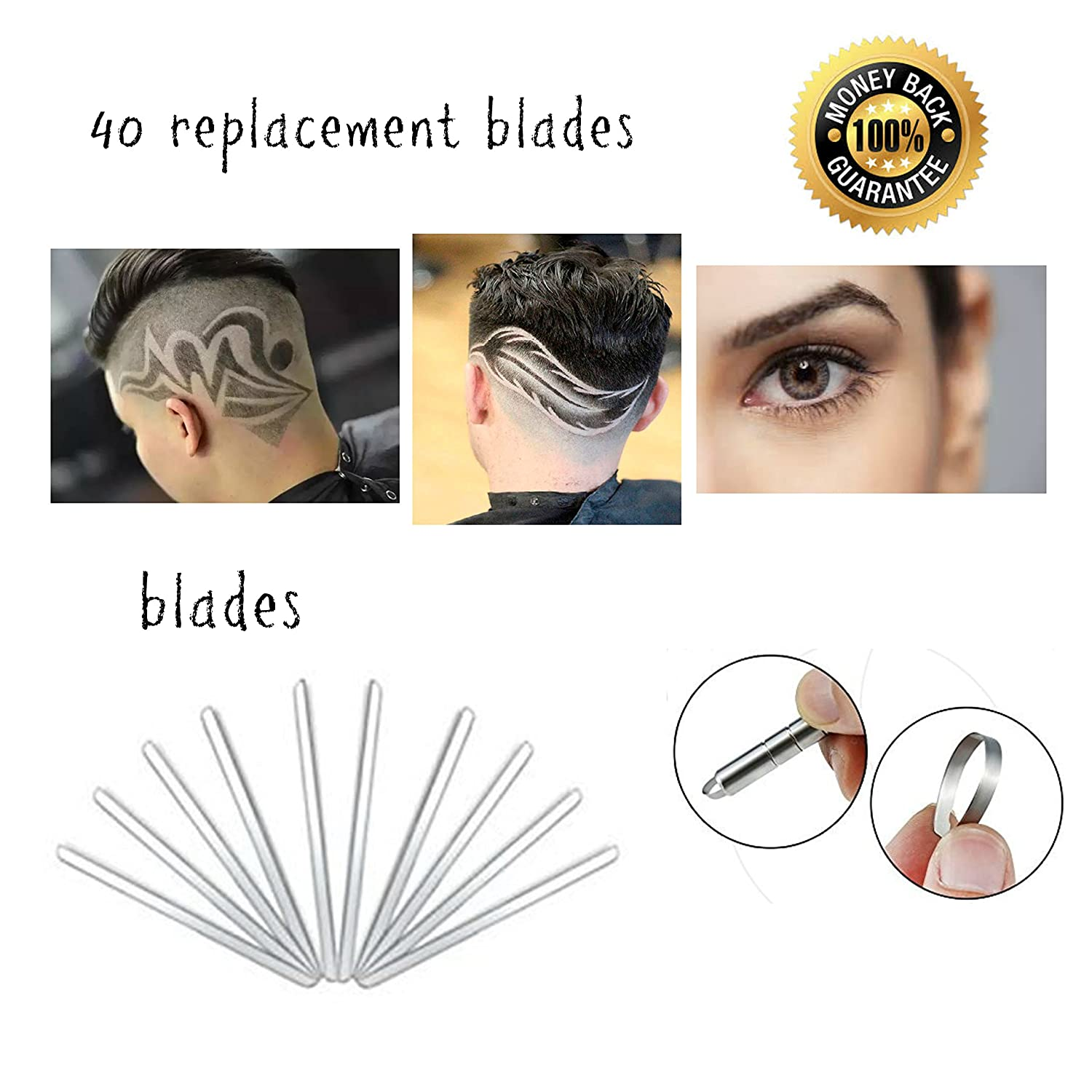 40pcs Replacement Blades Stainless Steel For Hair Tattoo Pen and Hair Engraving Shaver Eyebrow Trimming Barber Razors Hair Styling Designs For Men Women Children LuNic