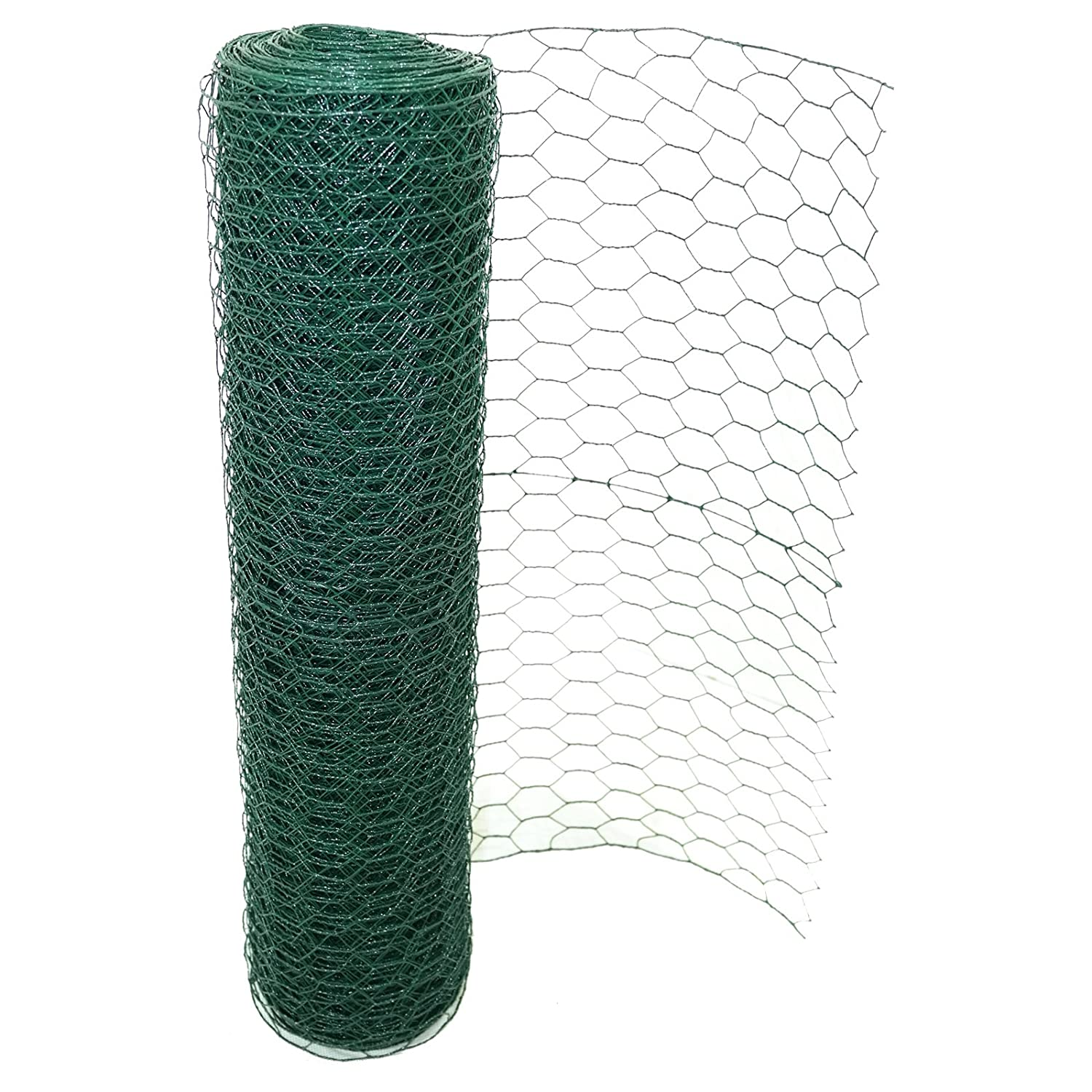 Marko Fencing 50mm PVC Coated Chicken Wire Rabbit Mesh Green Fencing Aviary Fence 25M 50M 0.9M x 25M