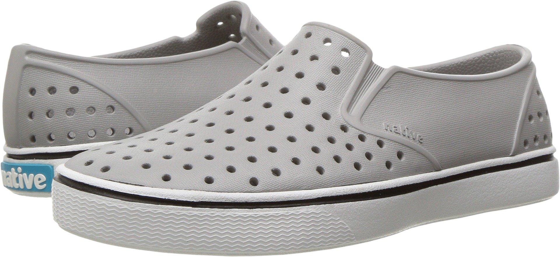 Native Unisex-kids Miles Water Proof Shoes, Pigeon Grey/Shell White, 4 Medium US Big Kid