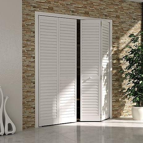 Amazon Com Bi Fold Closet Door Louver Louver Plantation White