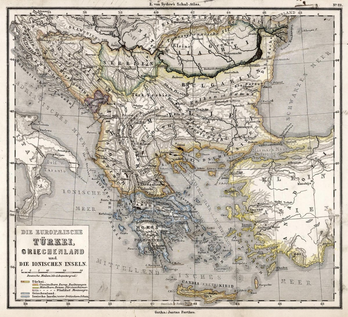 1872 School Atlas | 22. European Turkey, Greece and the Ionian islands. | Antique Vintage Map Reprint