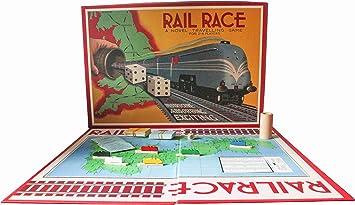 Juego de Mesa Carrera de Trenes Retro Vintage Viaje Vías Estrategia