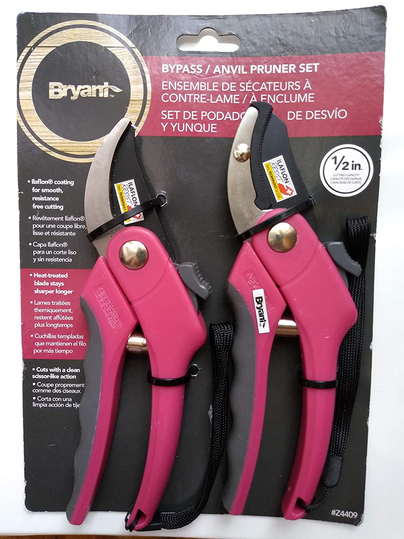 Bryant Pruning Shears Stainless Steel Pruner Garden Scissors Heavy Duty Hand Pruners Pink