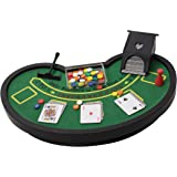 Desktop Miniature Blackjack Table Set with Mini Card Deck Poker Chips Accessories - Tabletop Vegas Casino Gambling Game for Men Women - Play Fun at Home Office Desk Top Anywhere by Perfect Life Ideas