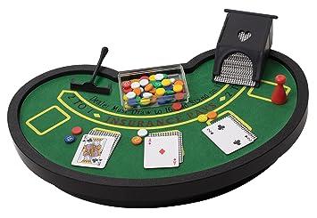 Desktop Miniature Blackjack Table Set With Mini Card Deck Poker Chips  Accessories   Tabletop Vegas Casino