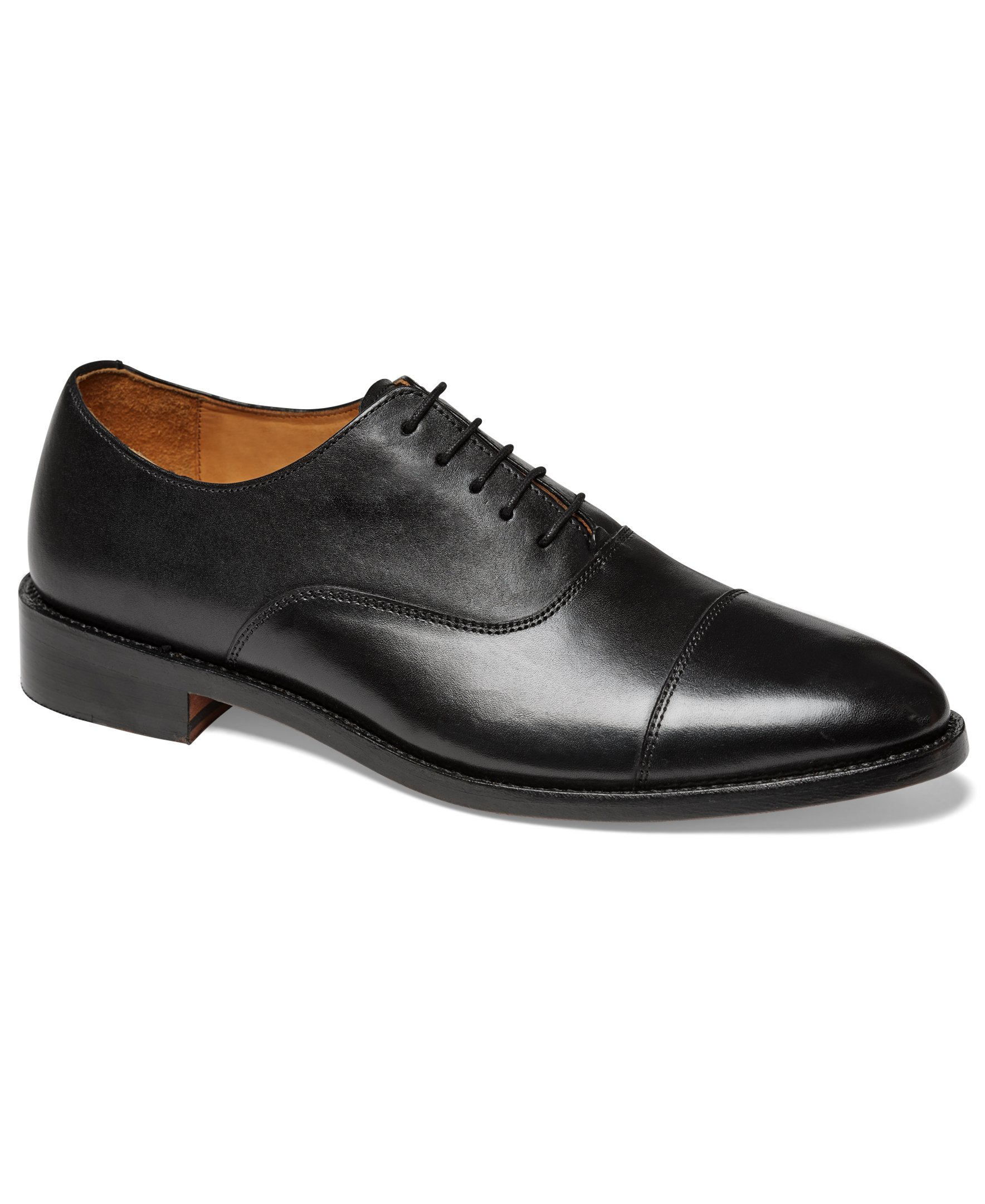 Anthony Veer Mens Clinton Cap-Toe Oxford Leather Shoe In Goodyear Welted Construction (10 D, Black)