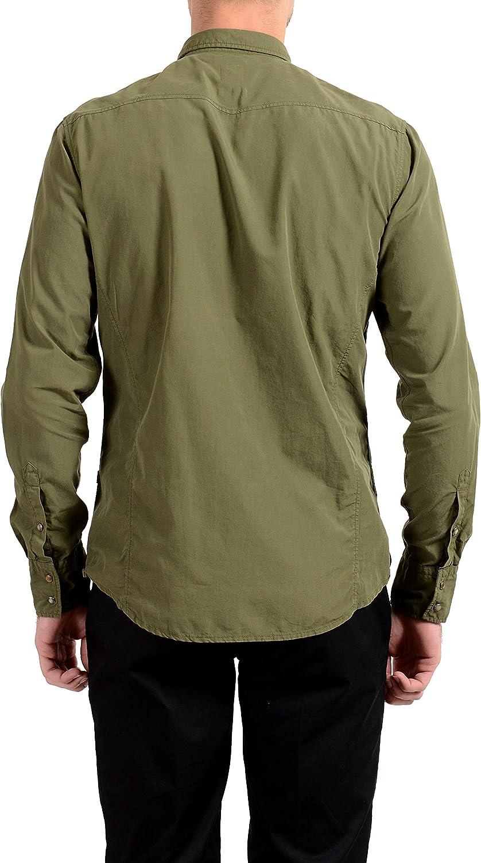 Hugo Boss Orange Erodeo Mens Slim Green Button Down Long Sleeve Casual Shirt Sz US M IT 50