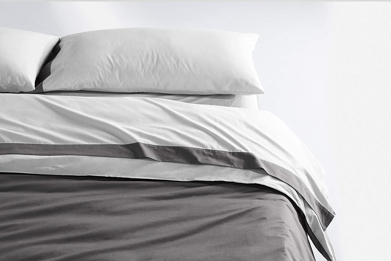 White Slate Queen Casper Sleep Soft and Durable Supima Cotton Sheet Set, King, White Slate