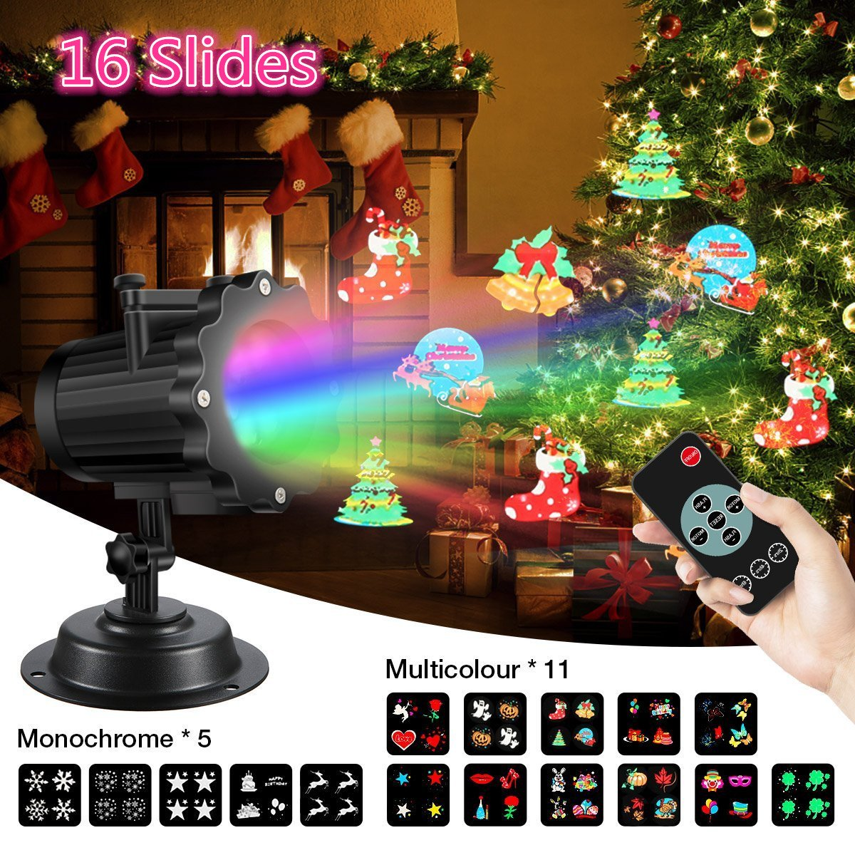(UK SHIPPING)LED Light Projector,SGODDE HD16 Switchable Slides Party Light Projector,Light Snowflakes Projector,Multi Dynamic Landscape Projector Lamp with Switchable Slides Patterns & Thermal Module,Remote Control,IP65 Waterproof & Cold Resistanc