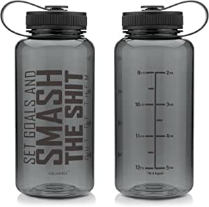 AQUANEÜ 34 oz Inspirational Fitness Workout Sports Water Bottle with Time Marker | Measurements | Goal Marked Times for Measuring Your H2O Intake, BPA Free Tritan