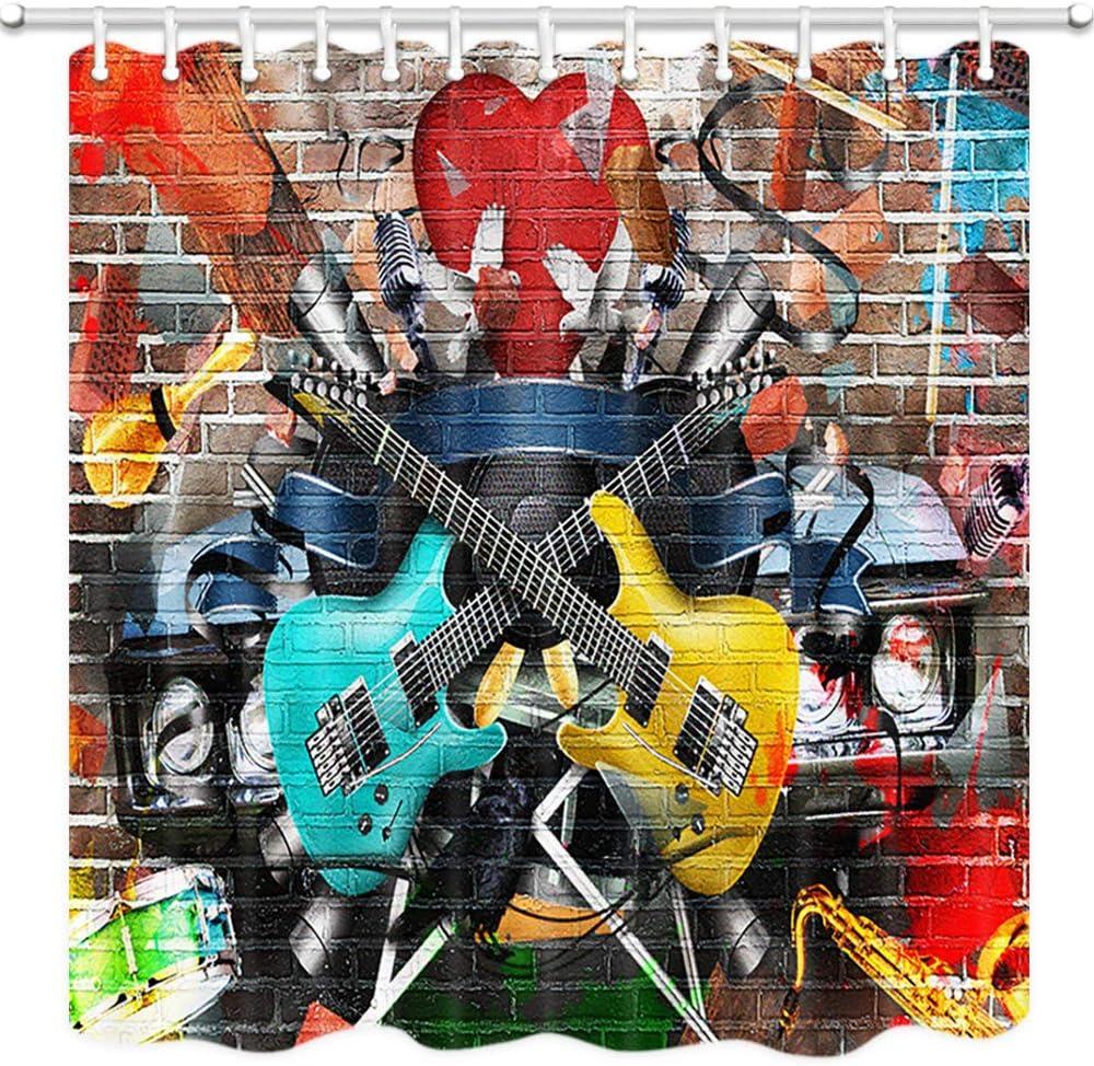 Fabric Waterproof Shower Curtain Bathroom Mat Brick Wall Music Graffiti Guitar