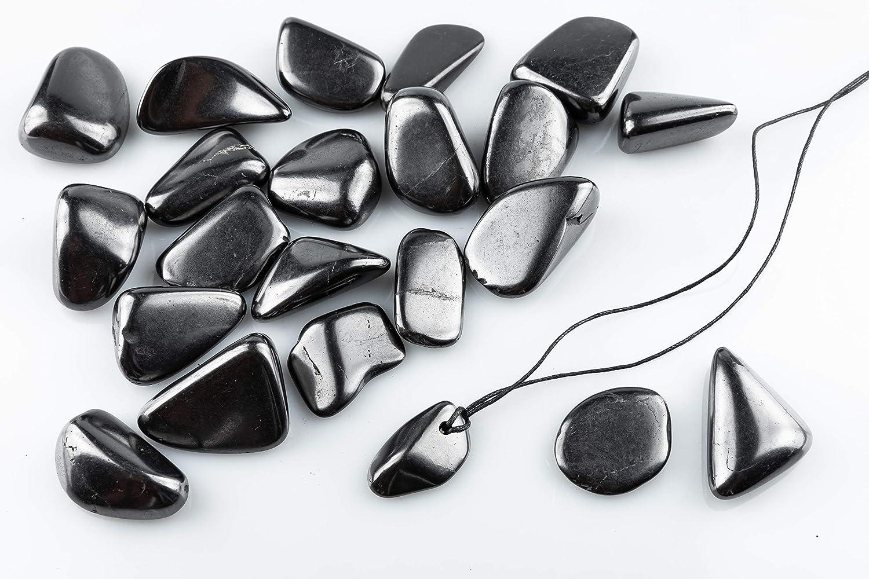 SN NATURSTEIN UG - Piedras Shungit pulidas 500g 2-4 cm + Colgante | Gema y piedra curativa originaria de Carelia - Protección contra radiación EMF