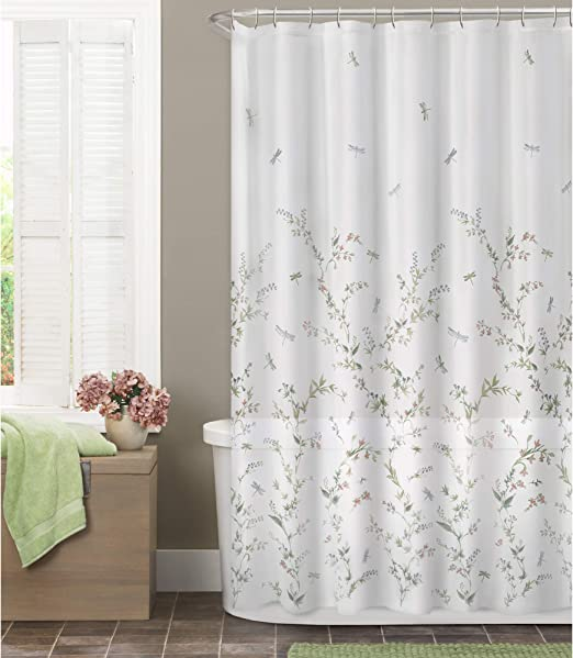 Maytex Dragonfly Garden Semi Sheer Fabric Shower Curtain 70x72 Inches Multi