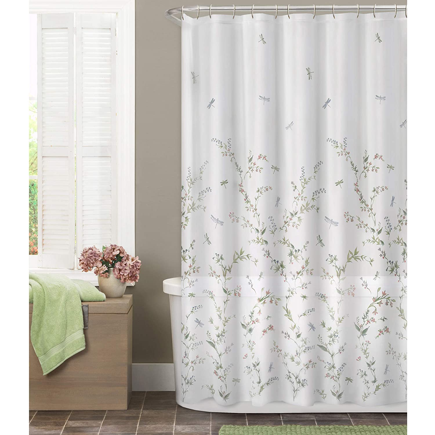 MAYTEX Dragonfly Garden Semi Sheer Fabric Shower Curtain 7065501