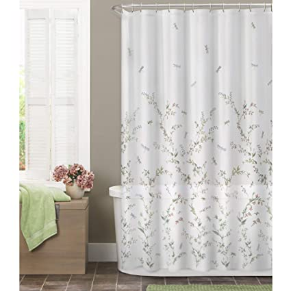 Amazon MAYTEX Dragonfly Garden Semi Sheer Fabric Shower Curtain