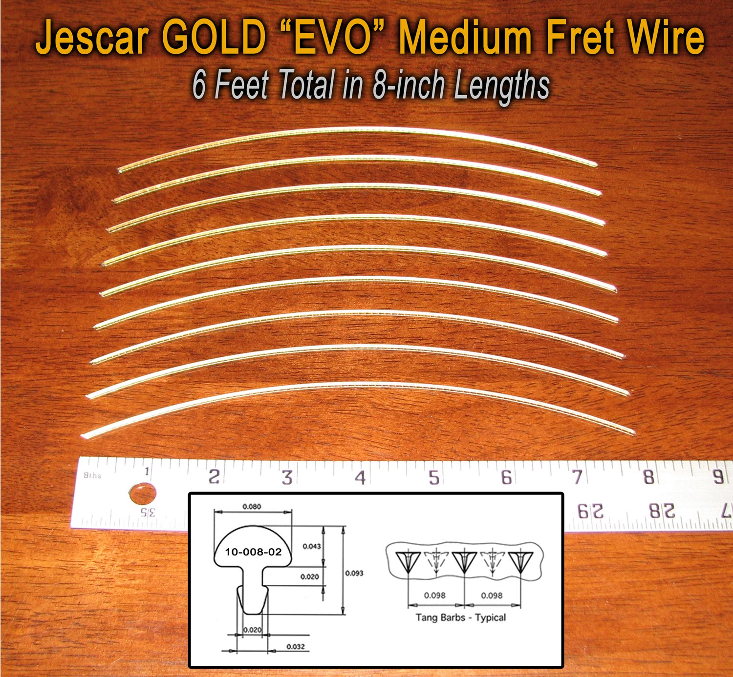 Guitar/Banjo Fret Wire - Jescar GOLD Medium/Medium Gauge