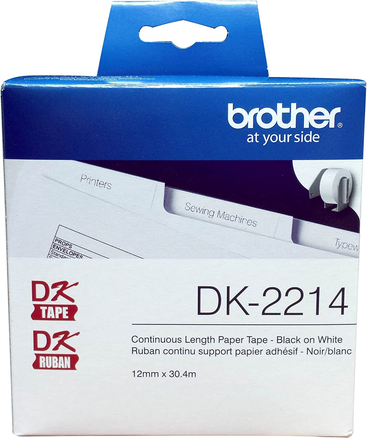 "Brother Genuine DK-2214 Continuous Length Black on White Paper Tape for Brother QL Label Printers, 0.47"" x 100' (12mm x 30.4M), 1 Roll per Box, DK2214 : Labeling Tape : Office Products"