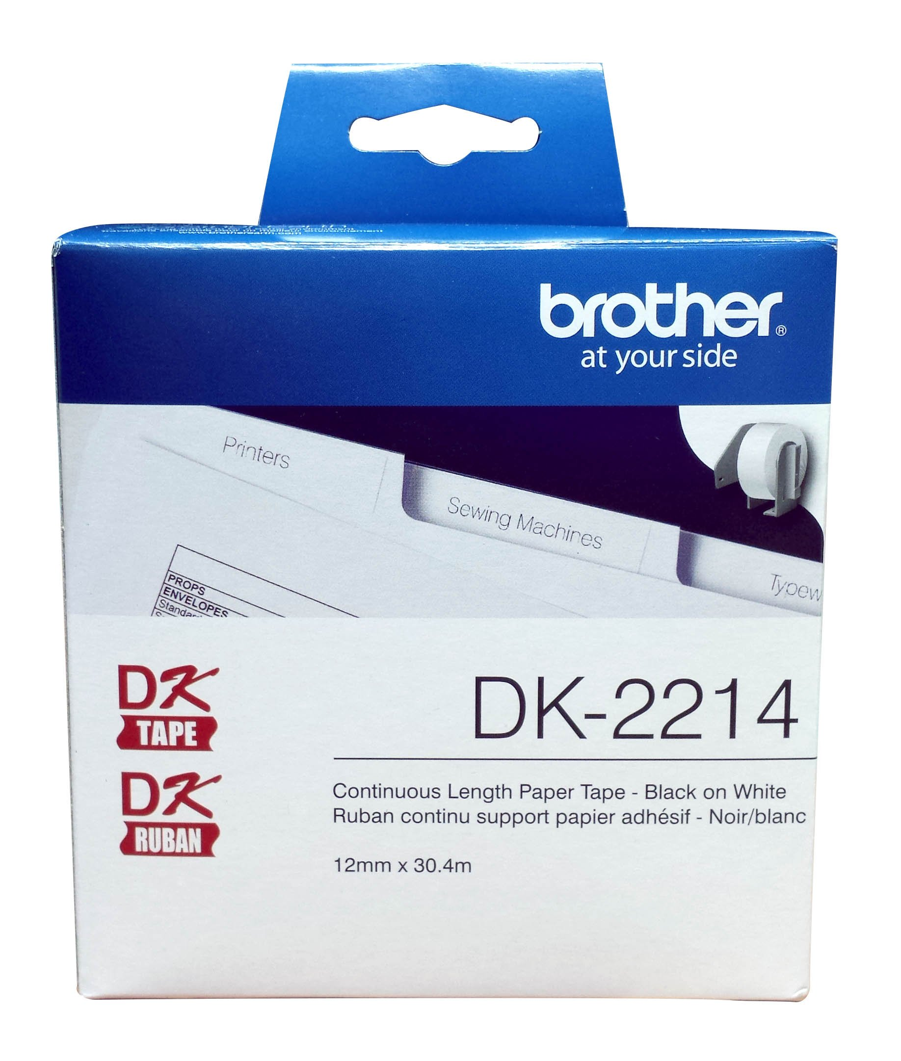 Brother Genuine DK-2214 Continuous Length Black on White Paper Tape for Brother QL Label Printers, 0.47'' x 100' (12mm x 30.4M), 1 Roll per Box, DK2214