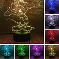 Fanrui Cute Cartoon Mickey Mouse 3D Night Light LED 7 Color Illusion USB Touch Table Lamp Birthday Child Kids Friends Bros Family Xmas Holiday Birthday Gifts