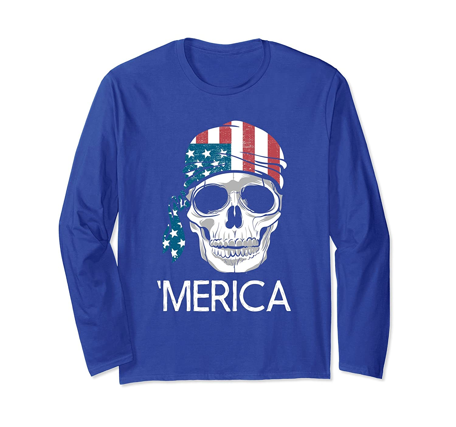 'Merica - US Flag Skull - Long Sleeve Shirt For Women Or Men-mt