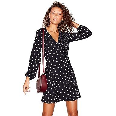 Debenhams Red Herring Womens Black Spot Print Long Sleeves V-Neck Mini Wrap  Dress 18