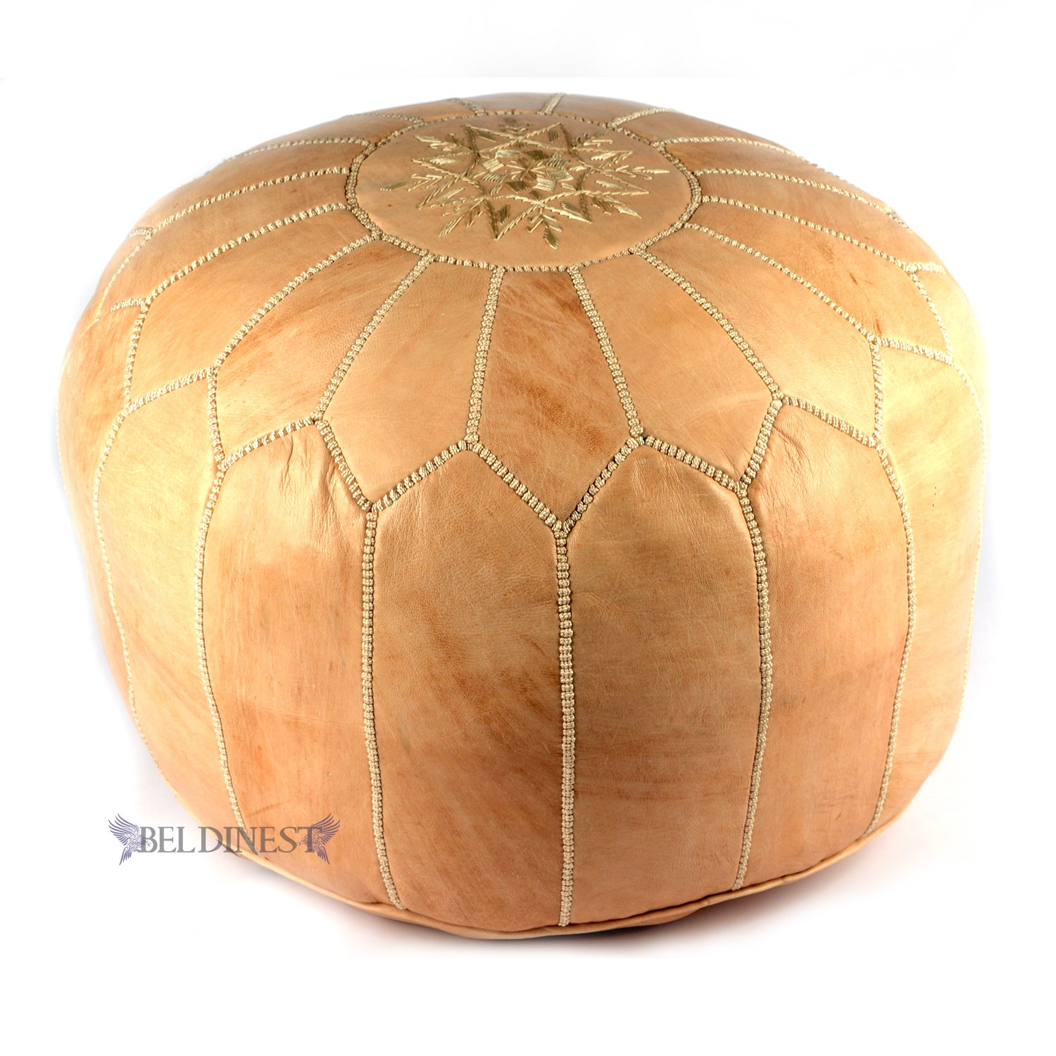 Amazon.com: Stuffed Moroccan Natural Leather Poufs, Pouffe, Ottoman, Hassock,  Tuffet, Foot Stool, Leather Seating, Foot Rest, Handmade Pouf: Kitchen & ...