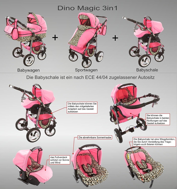 Chilly Kids Dino 3 in 1 Kinderwagen Set (Autosit & Adapter, Regenschutz, Moskitonetz, Schwenkräder) 40 Graphit & Graphit Blumen 32 Weiß & Snow Leopard