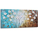 YHSKY ARTS Flower Canvas Wall Art Hand Painted 3D Turquoise Brown White Painting Modern Abstract Floral Pictures Aesthetic Ar