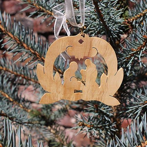 Christbaumschmuck Aus Olivenholz Krippe Weihnachtsdeko
