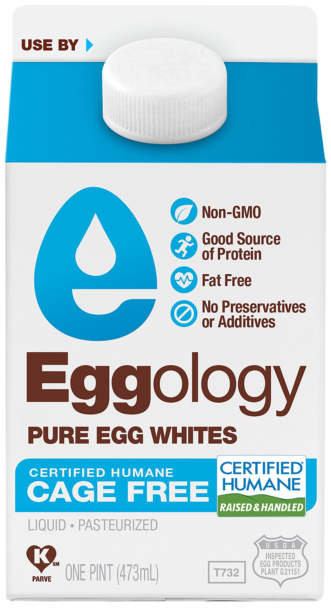 Eggology Certified Humane Cage Free Pure Egg Whites, 144 Ounce