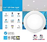 """Parmida (4 Pack) 5/6"""" Dimmable LED Disk Light Flush Mount Recessed Retrofit Ceiling Lights, 15W (120W Replacement), 3000K (Soft White), Energy Star, Installs into Junction Box Or Recessed Can, 1050lm"""