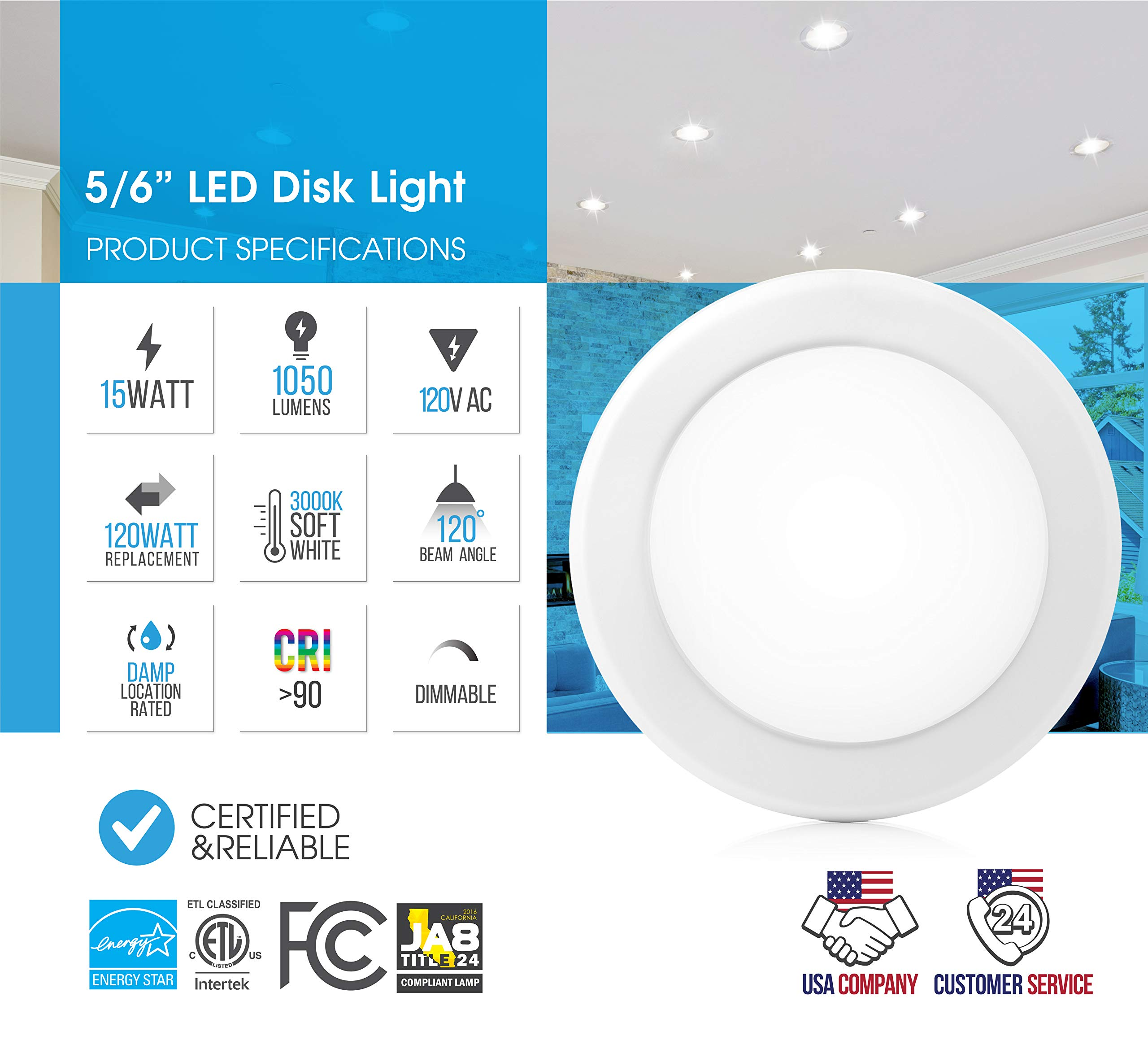 """Parmida (24 Pack) 5/6"""" Dimmable LED Disk Light Flush Mount Recessed Retrofit Ceiling Lights, 15W (120W Replacement), 3000K (Soft White), Energy Star, Installs into Junction Box Or Recessed Can, 1050lm by Parmida LED Technologies (Image #2)"""