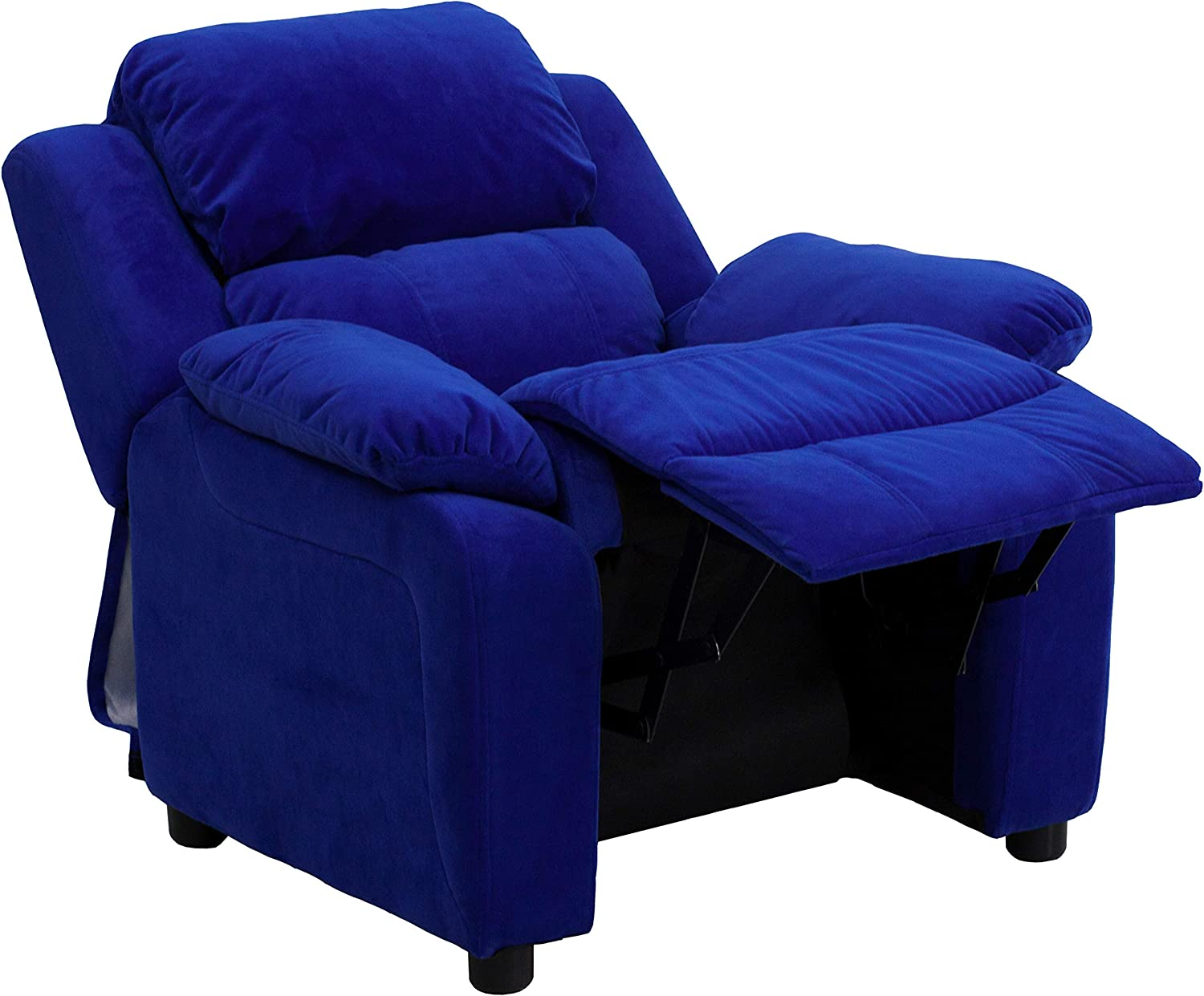 Flash Furniture Deluxe Padded Contemporary Blue Microfiber Kids Recliner with Storage Arms,
