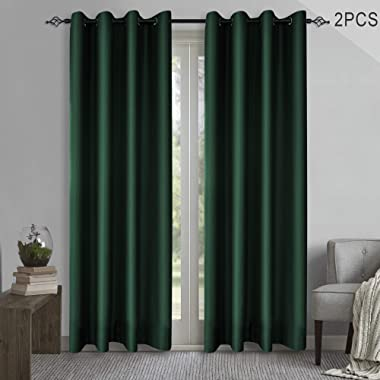 KEQIAOSUOCAI Blackout Window Curtains Room Darkening Blackout Curtain Set Thermal Insulated Grommets Drapes for Bedroom 84 inch, Green