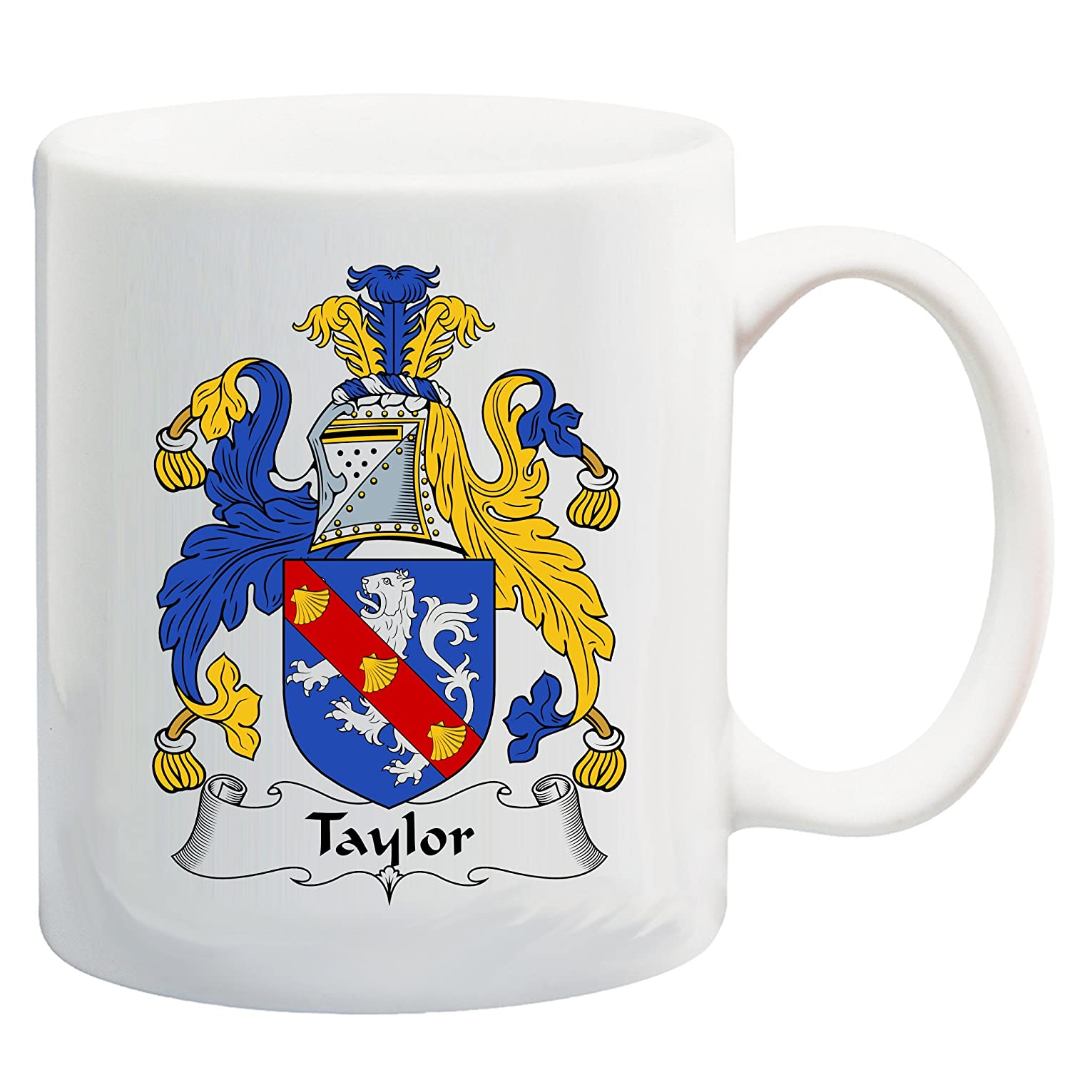 Taylor Coat of Arms/Taylor Family Crest 11 Oz Ceramic Coffee/Cocoa Mug by Carpe Diem Designs, Made in the U.S.A.