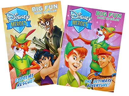 Amazon Com Disney Heroes 2 Pack Coloring Book Set
