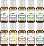 Essential Oil Set 10-10 ml. Therapeutic Grade 100% Pure Cedarwood, Eucalyptus, Frankincense, Lavender, Lemon, Lemongrass, Sweet Orange, Peppermint, Rosemary, Tea Tree For Skin, Body, Hair, Diffuser