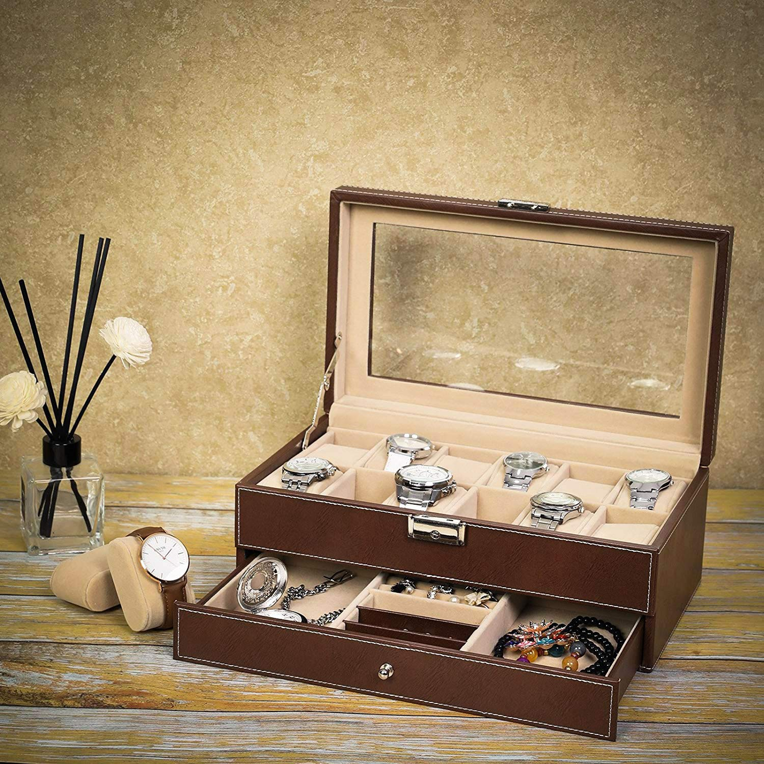 Amazon.com: Mens Womens Wooden Watch Box 6/8/10/12/20 Slots Jewelry Organizer Storage Case with Real Glass Top (Red, 12): Home & Kitchen