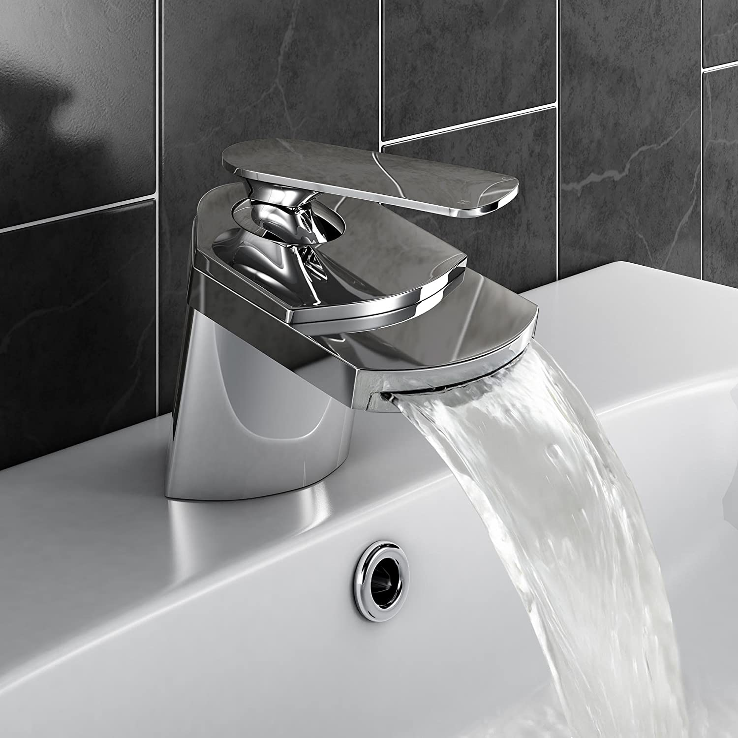 Modern Waterfall Basin Sink Mixer Tap Chrome Bathroom Lever Faucet...