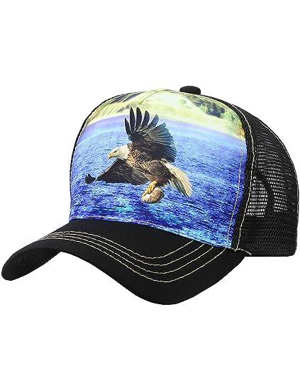 2411c8866 Amazon.com: Eagle Trucker Hat Adjustable Mesh Animal Printed Cap ...