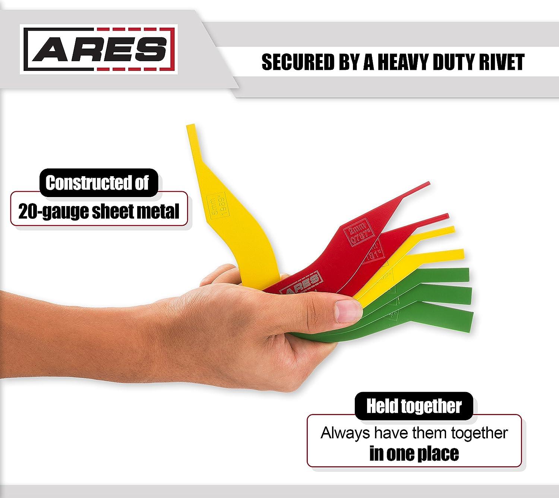 8-Piece Brake Pad Gauge Tool Set 20-Gauge Sheet Metal Corrosion Resistant High Visibility Powder Coat Finish ARES 70924