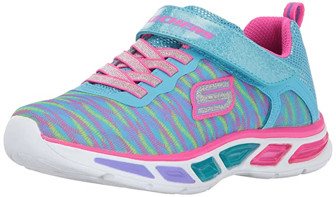 Skechers Kids Girls' Litebeams-Colorburst Sneaker, Neon Pink/Multi, 2 M