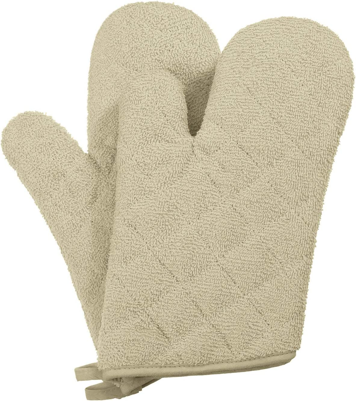 VEEYOO 100% Cotton Oven Mitts, Everyday Kitchen Heat Resistant Oven Mitt Set, Machine Washable Terry Oven Mitts Baking Gloves (Khaki 7.5x12 Inches, Set of 2)