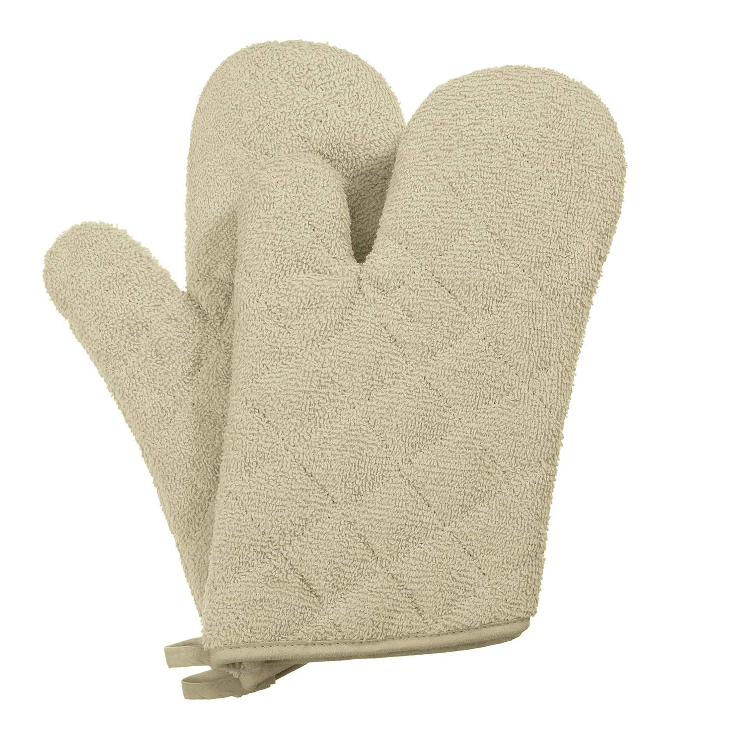 7 x 12 Khaki VEEYOO 100/% Cotton Oven Mitts Terry Heat Resistant Oven Gloves for Kitchen Set of 2