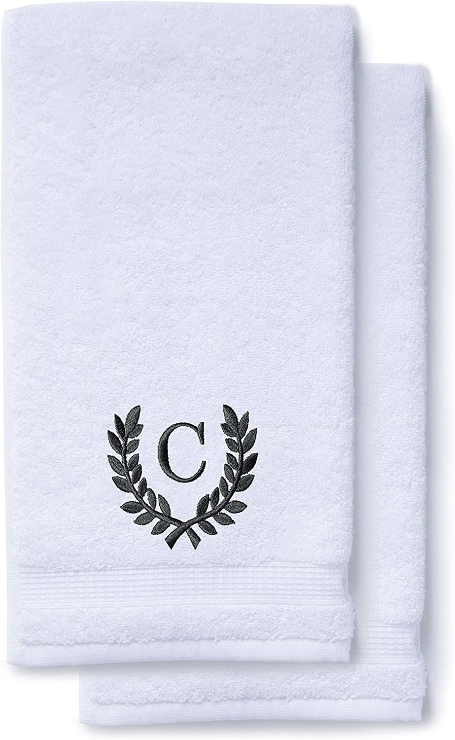 Image of Turquaz hand towel in white color with embroidered letter C.