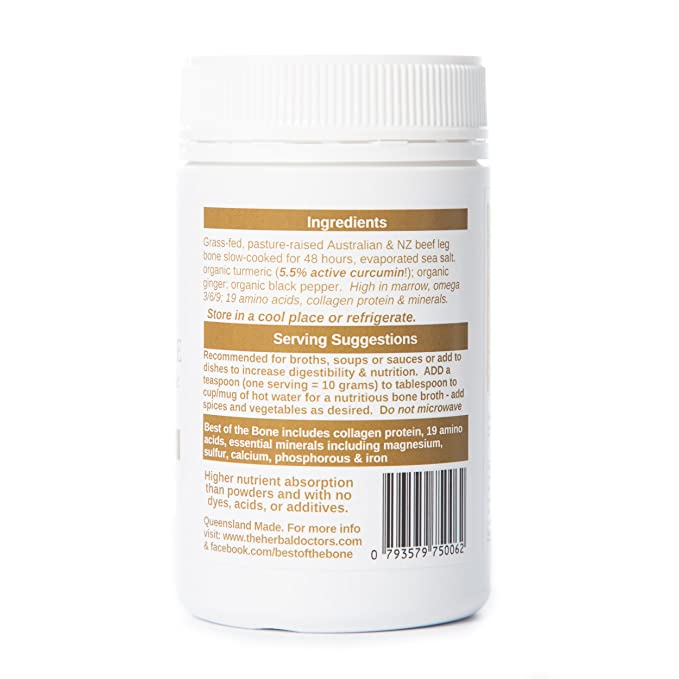 Gelatina de caldo de hueso de vacuno orgánico con cúrcuma y pimienta negra - Apoya la salud de las articulaciones y mejora la inmunidad - Ingredientes ...