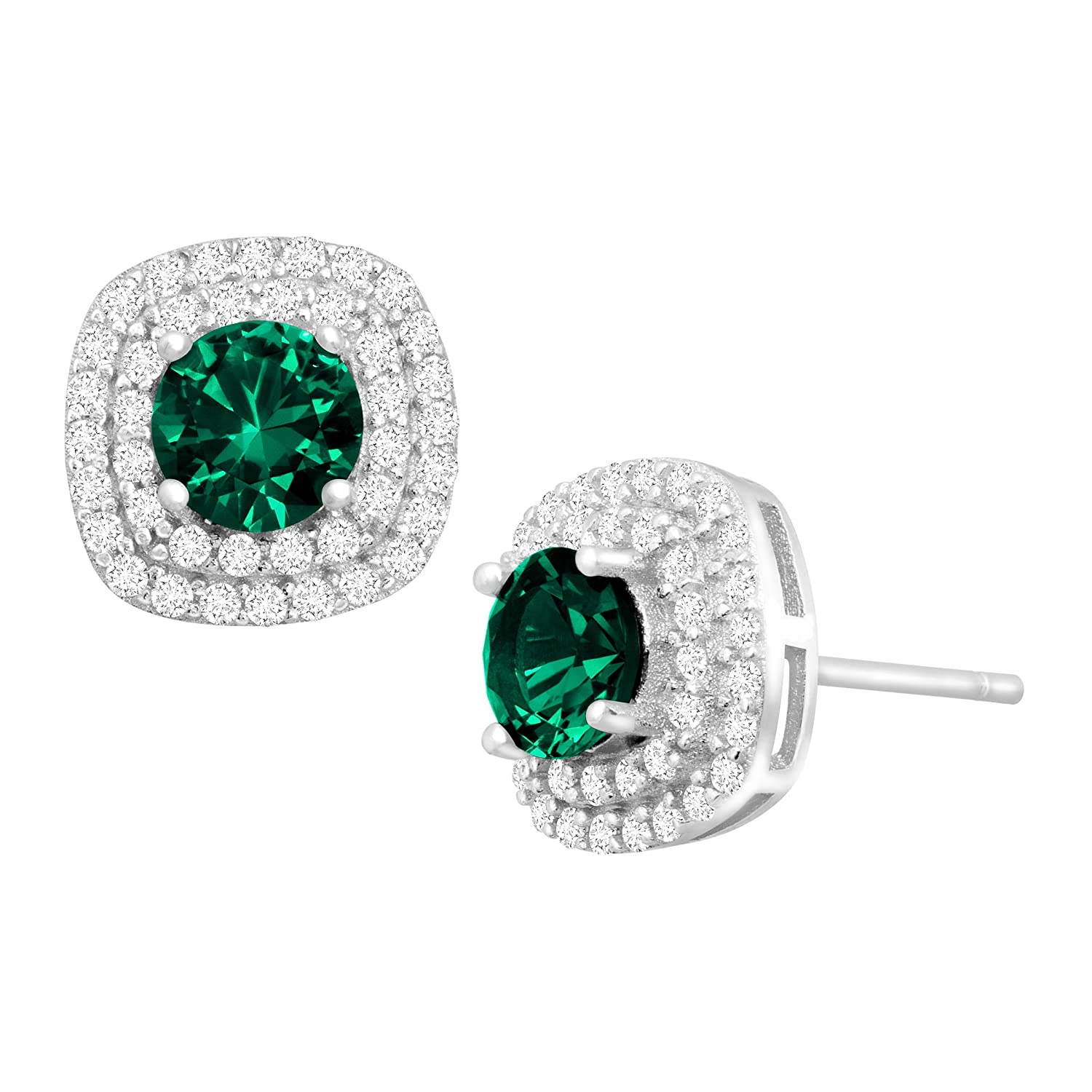 1 1/2 ct Created Emerald and Cubic Zirconia Halo Stud Earrings in Sterling Silver