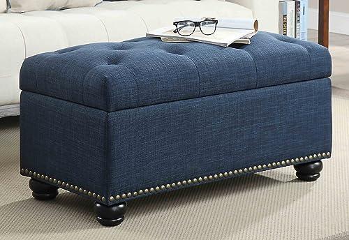 Convenience Concepts Designs4Comfort 7th Avenue Storage Ottoman, Blue Fabric