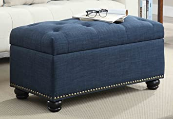 Marvelous Convenience Concepts 7Th Avenue Storage Ottoman Blue Gmtry Best Dining Table And Chair Ideas Images Gmtryco