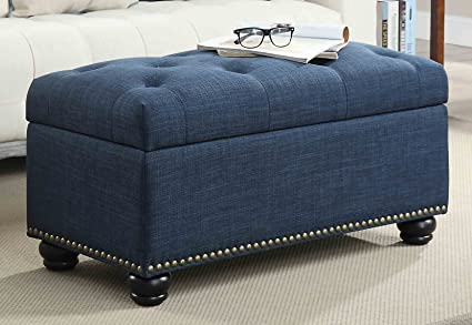 Convenience Concepts 7th Avenue Storage Ottoman, Blue
